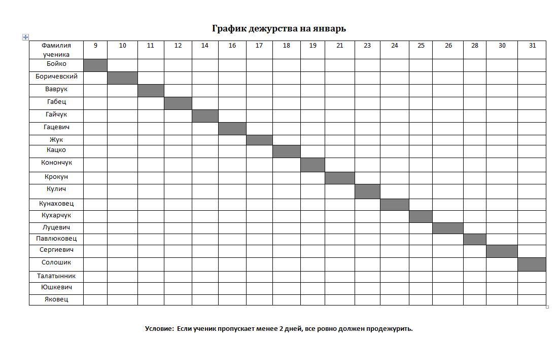 график дежурств для 1 класса шаблоны